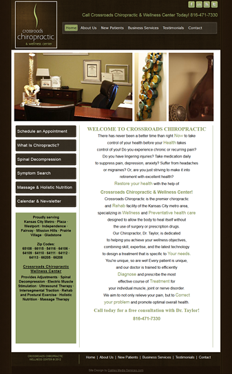Snapshot Galileo Media Services Web Design for Crossroads Chiropractic
